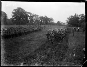 New Zealand Division soldiers marching at medal ceremony, World War I