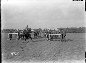 The mounted officers' obstacle pace at the New Zealand Divisional sports in France, World War I