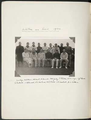Photograph of Jack Lovelock and others from the Achilles public schools touring team