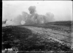 Huge explosion caused by New Zealand Tunnelling Company destroying faulty German shells, World War I