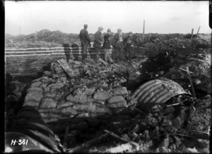 New Zealand officers watching a bombardment at Hooge Crater, World War I