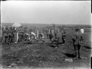 Relay race at the New Zealand Infantry Brigade horse show, France