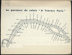 Map of the A Travers Paris relay race