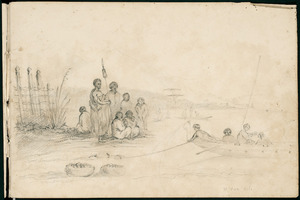 Fox, William 1812-1893 :[Maori on shore watching a canoe beach. Kits of food beside the group. 1845?]