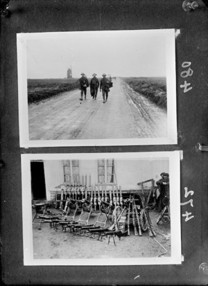 Two photographs of New Zealand soldiers in France during World War I, 1918