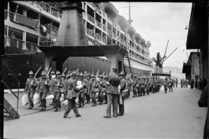 Members of 1st Echelon at their ship before departure during World War 2