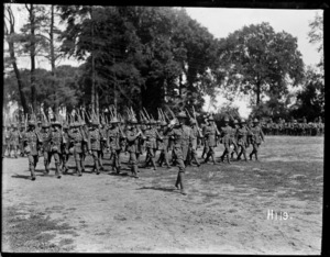 March past of 4th Brigade New Zealand troops for inspection by Brigadier General Hart