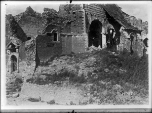 Grevillers Church damaged during World War I