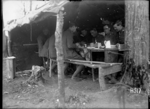 An officers' mess in the transport lines, Louvencourt