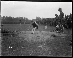 Long jumping at the New Zealand Division sports day in France, during World War I
