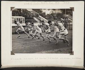 Photograph of Jack Lovelock and others at the start of the mile race at the Oxford vs Cambridge University Sports