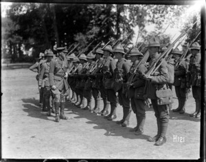 Inspection of New Zealand troops by Brigadier General Hart