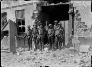 A section of New Zealand Riflemen in newly captured Bapaume, World War I