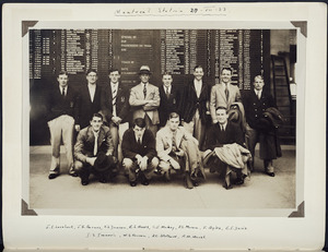 Photograph showing Jack Lovelock and other members of the Oxford and Cambridge Universities athletic team