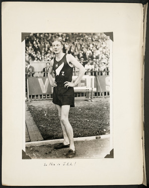 Photograph of Jack Lovelock after his victory in a 1500 metres race in Paris