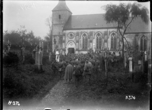 All Souls Day memorial funeral burial service, in the churchyard of St Martin's, Selles, Pas de Calais, France