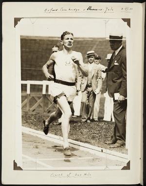 Photograph of Jack Lovelock winning a mile race at Harvard University