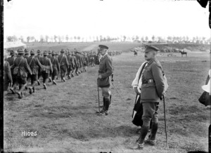 The Corps Commander takes the salute after a New Zealand Brigade church service in World War I