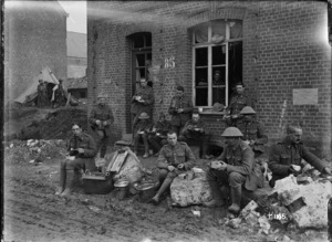 Wellington soldiers eating a meal in Solesmes, France, World War I