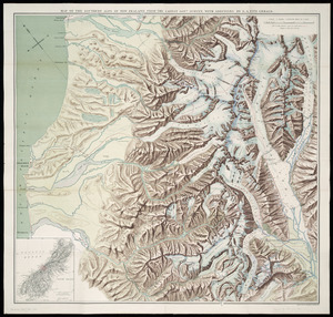 Map of the Southern Alps of New Zealand from the latest Government survey [cartographic material] / with additions by E.A. FitzGerald.