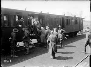 Wounded German prisoners boarding a train, Louvencourt, France