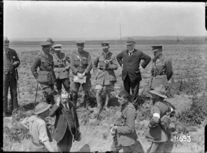 Sir Joseph Ward listens to wireless reports during army exercises in France during World War I
