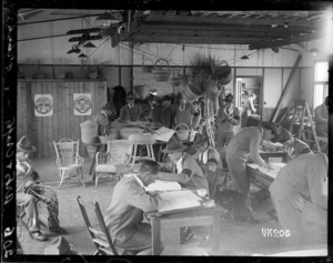 Arts and crafts class at the New Zealand Convalescent Camp in Hornchurch, England, World War I