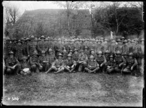 Soldiers of a Wellington Regiment pose in France