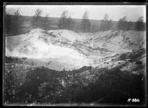 The crater caused by the destruction of damaged German explosives, World War I