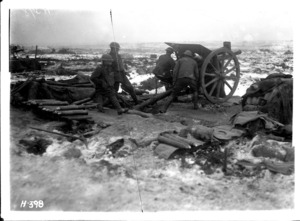 New Zealand artillery in action on the Butte, Belgium