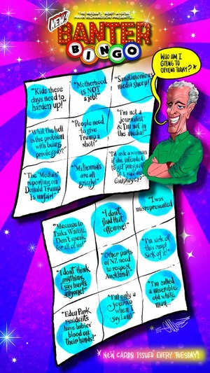 """Television host Mark Richardson presents """"New Banter Bingo"""" and asks """"Who am I going to offend today?"""""""