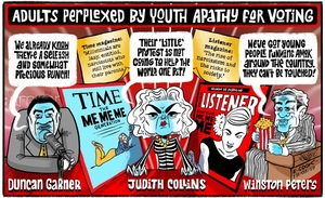 Duncan Garner, Judith Collins, and Winston Peters as the 'Adults perplexed by youth apathy for voting'
