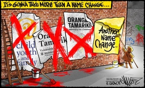 """A person pastes up a poster calling for a name change as nearby red 'X' are painted over the """"Oranga Tamariki"""" posters"""