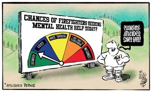 """Man stands next to the Fire Danger Ratings sign which now shows a """"good"""" chance that firefighters will seek mental health help"""