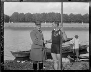 New Zealand rower Darcy Hadfield and Colonel Gosforth in London