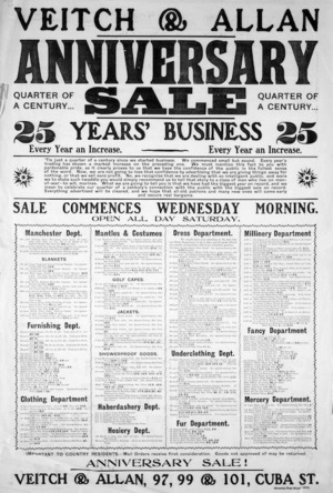 Veitch and Allan: Quarter of a century anniversary sale. Evening Post Print - 7979 [1905]