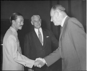 Prime Minister of South Vietnam Nguyen Cao Ky, Keith Holyoake, and George Laking