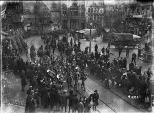 New Zealand troops marching through a city on the march to the Rhine after the Armistice