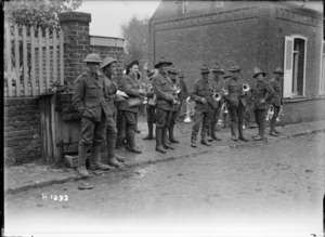 New Zealand Rifle Brigade bandsmen in France