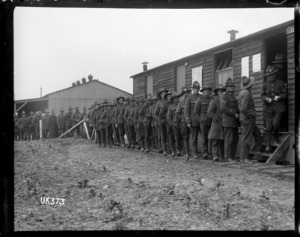 New Zealand soldiers lining up at the camp general store, England