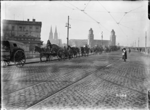 World War I New Zealand mounted troops moving through Cologne, Germany