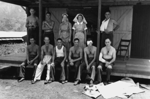 Wounded men of the 2nd New Zealand Expeditionary Force (in the Pacific) at the 4th New Zealand General Hospital in New Caledonia