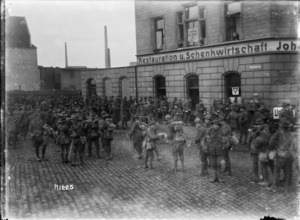 World War I New Zealand troops outside the YMCA in Ehrenfeld, Cologne
