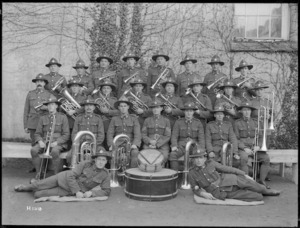 Band of the 3rd Auckland Regiment at the New Zealand Reception Camp, Opladen, Germany