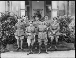 The Prince of Wales with Major General Russell and Divisional Headquarters staff at Leverkusen, Germany