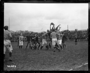 Lineout at a New Zealand versus France rugby match