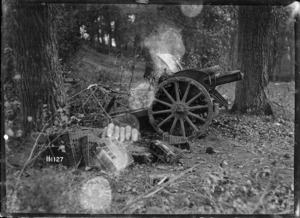 One of a battery of 4.2 guns captured in Pont-a-Pierre, France, World War I