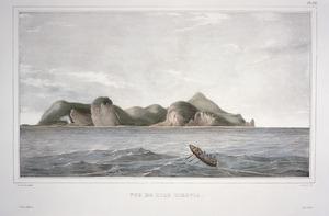 Sainson, Louis Auguste de b 1801 :Vue de l'ile Tikopia / de Sainson pinx ; J Arago lith ; J Tastu, editeur ; lith. A Bes. Pl.172. [1828]
