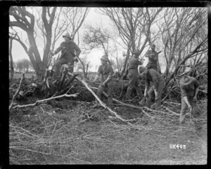 New Zealand soldiers cutting wood in England