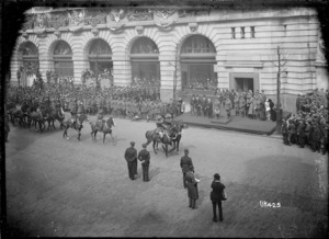 Australian mounted troops approaching the official dais in London